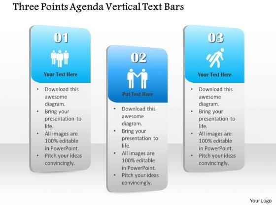 Business Diagram Three Points Agenda Vertical Text Bars Presentation Template