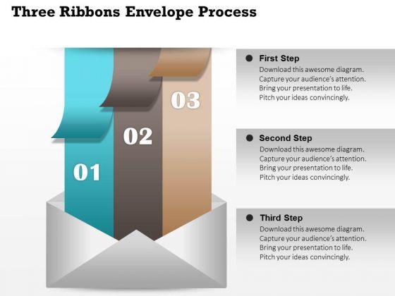 Business Diagram Three Ribbons Envelope Process Presentation Template
