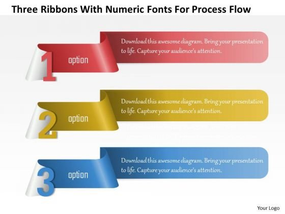 Business Diagram Three Ribbons With Numeric Fonts For Process Flow Presentation Template