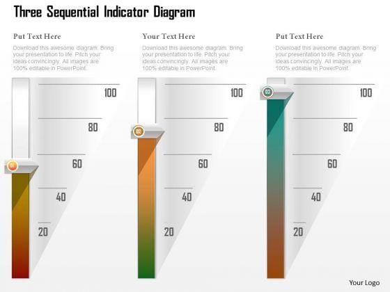 Business Diagram Three Sequential Indicator Diagram Presentation Template
