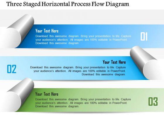 Business Diagram Three Staged Horizontal Process Flow Diagram Presentation Template
