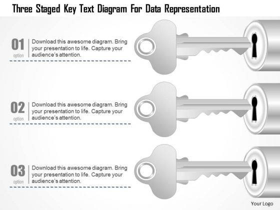 Business Diagram Three Staged Key Text Diagram For Data Representation PowerPoint Template