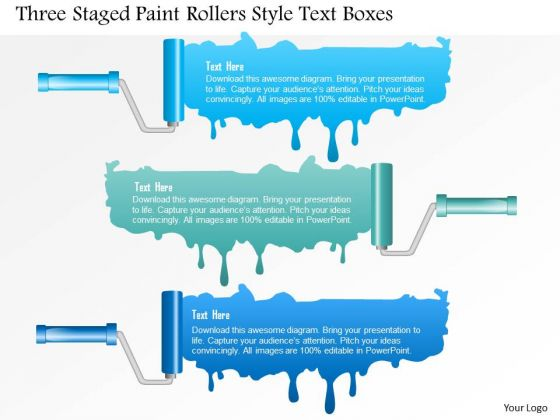 Business Diagram Three Staged Paint Rollers Style Text Boxes PowerPoint Template