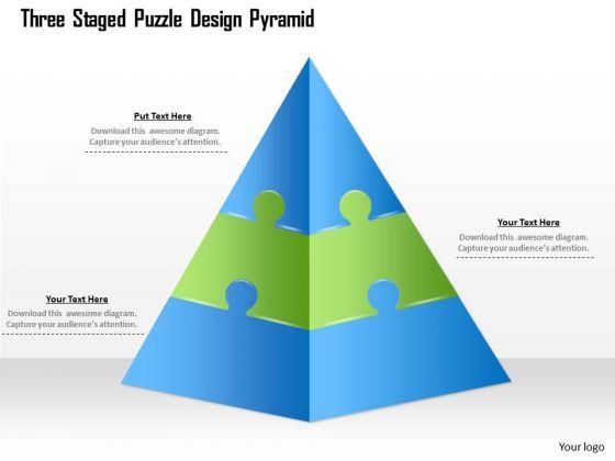business diagram three staged puzzle design pyramid presentation