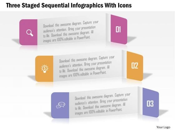 Business Diagram Three Staged Sequential Infographics With Icons PowerPoint Template