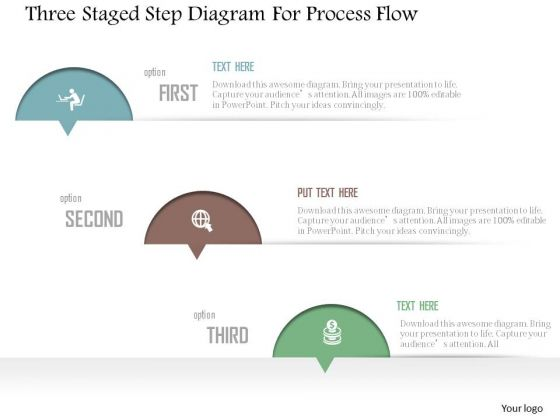 Business Diagram Three Staged Step Diagram For Process Flow Presentation Template