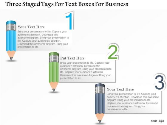 Business Diagram Three Staged Tags For Text Boxes For Business Presentation Template