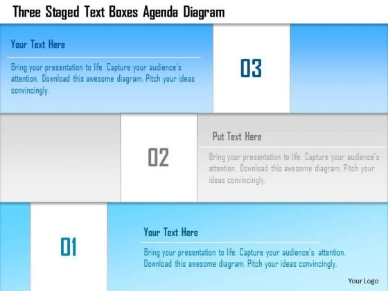 Business Diagram Three Staged Text Boxes Agenda Diagram Presentation Template