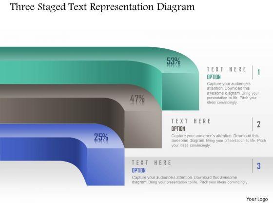 Business Diagram Three Staged Text Representation Diagram Presentation Template