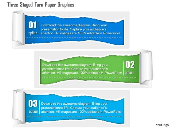 Business Diagram Three Staged Torn Paper Graphics Presentation Template