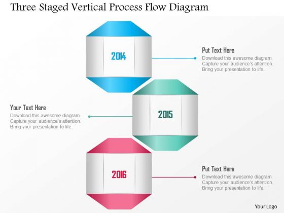 Business Diagram Three Staged Vertical Process Flow Diagram Presentation Template