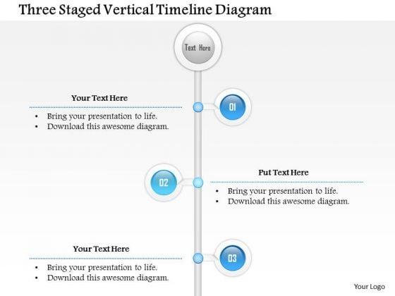 Business Diagram Three Staged Vertical Timeline Diagram Presentation Template