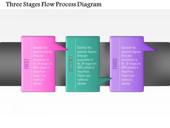 Business Diagram Three Stages Flow Process Diagram Presentation Template