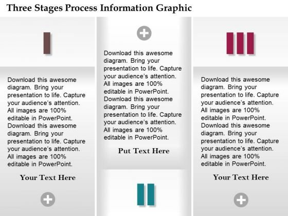 Business Diagram Three Stages Process Information Graphic Presentation Template
