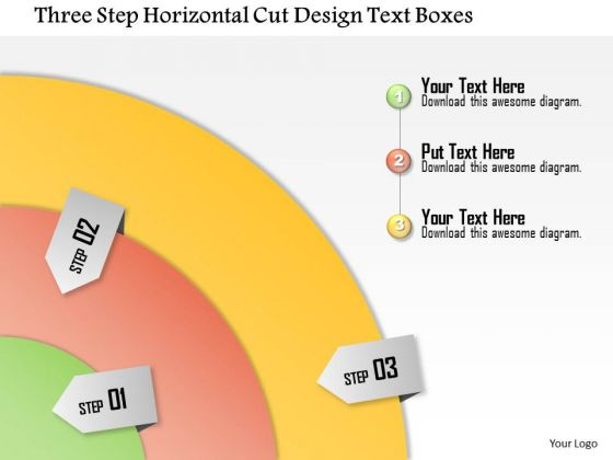 Business Diagram Three Step Horizontal Cut Design Text Boxes Presentation Template