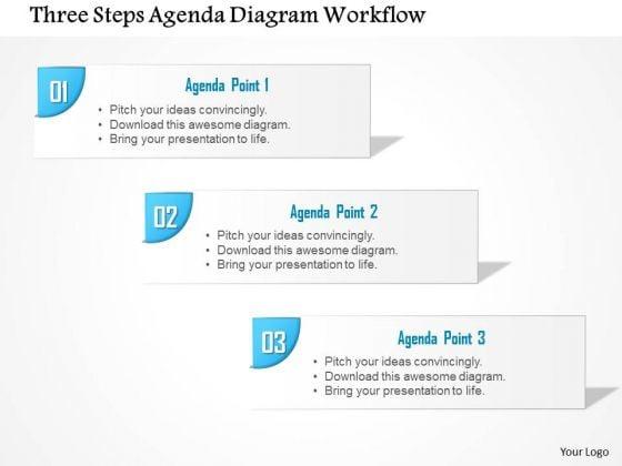 Business Diagram Three Steps Agenda Diagram Workflow Presentation Template