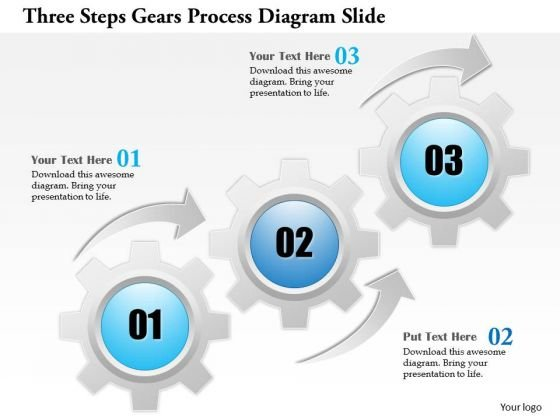 Business Diagram Three Steps Gears Process Diagram Slide Presentation Template