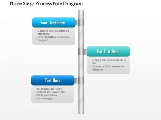 Business Diagram Three Steps Process Pole Diagram Presentation Template