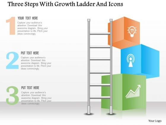 Business Diagram Three Steps With Growth Ladder And Icons Presentation Template