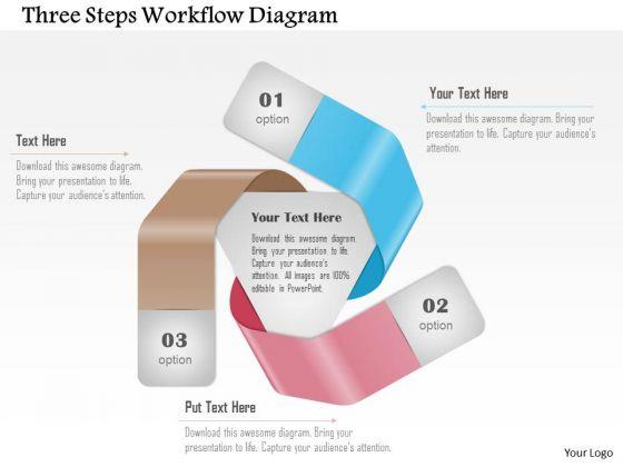 Business Diagram Three Steps Workflow Diagram Presentation Template