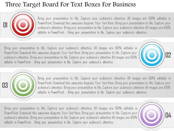Business Diagram Three Target Board For Text Boxes For Business Presentation Template