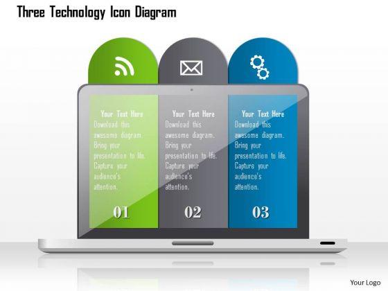 Business Diagram Three Technology Icon Diagram Presentation Template