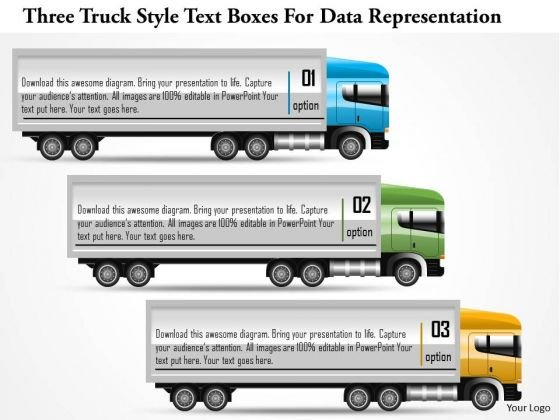 Business Diagram Three Truck Style Text Boxes For Data Representation PowerPoint Template