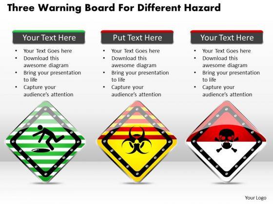 Business Diagram Three Warning Board For Different Hazard Presentation Template