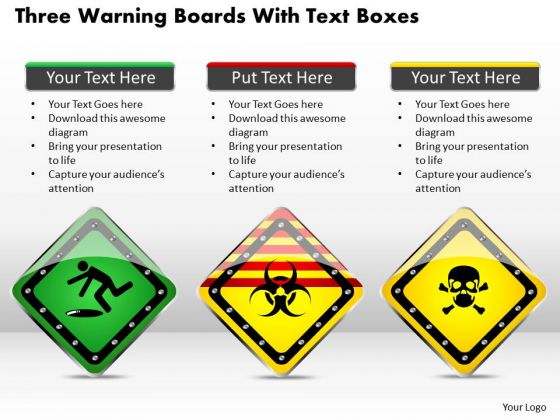 Business Diagram Three Warning Boards With Text Boxes Presentation Template