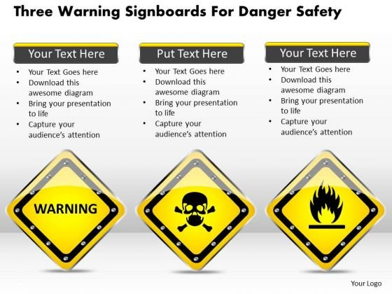 Business Diagram Three Warning Signboards For Danger Safety Presentation Template