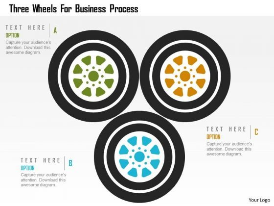 Business Diagram Three Wheels For Business Process Presentation Template