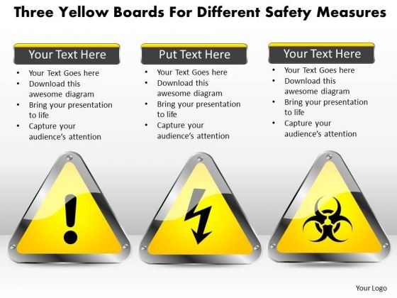 Business Diagram Three Yellow Boards For Different Safety Measures Presentation Template