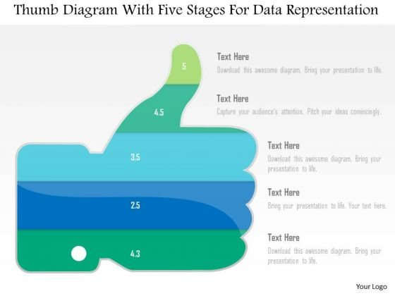 Business Diagram Thumb Diagram With Five Stages For Data Representation PowerPoint Slide