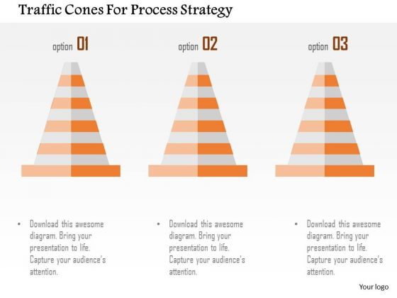 Business Diagram Traffic Cones For Process Strategy Presentation Template