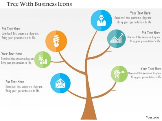 Business Diagram Tree With Business Icons Presentation Template