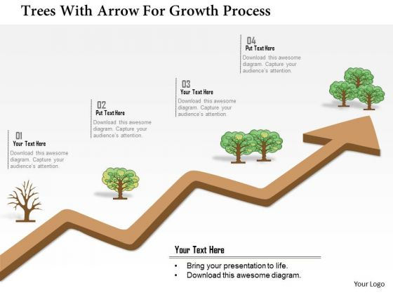 Business Diagram Trees With Arrow For Growth Process Presentation Template