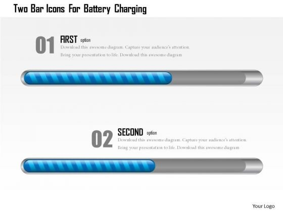 Business Diagram Two Bar Icons For Battery Charging Presentation Template
