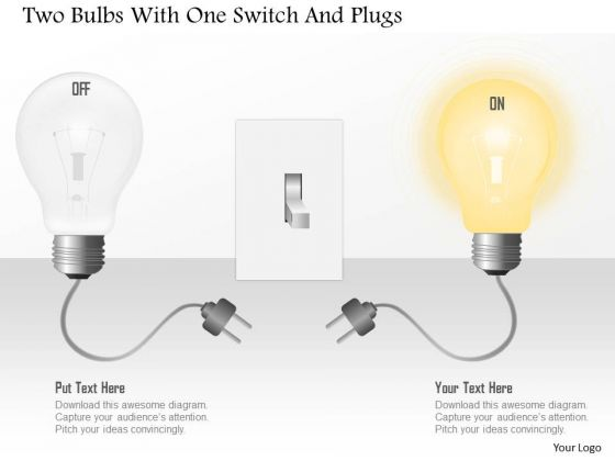 Business Diagram Two Bulbs With One Switch And Plugs PowerPoint Template