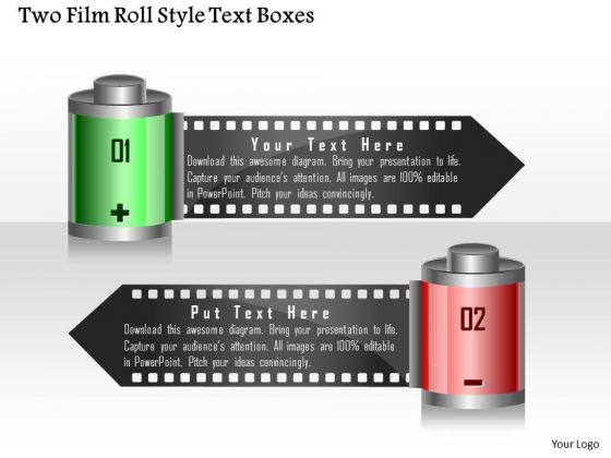 Business Diagram Two Film Roll Style Text Boxes Presentation Template