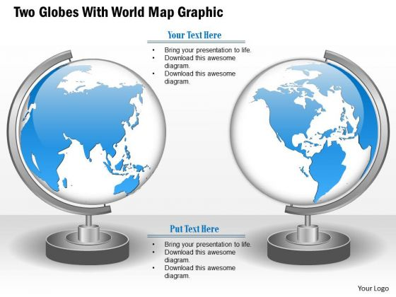 Business Diagram Two Globes With World Map Graphic Presentation Template