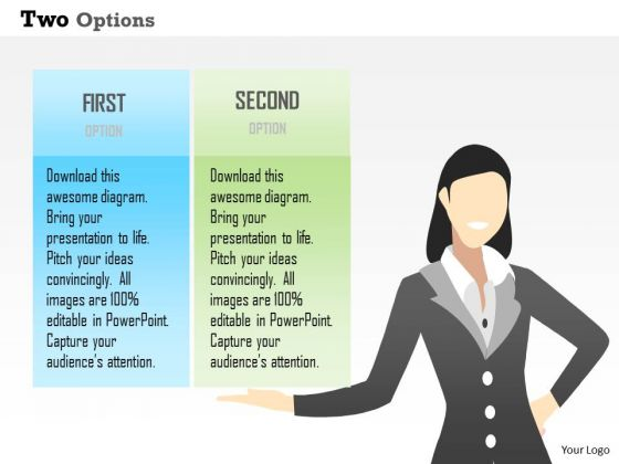 Business Diagram Two Options Info Graphic Presentation Template