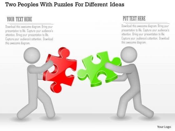 Business Diagram Two Peoples With Puzzles For Different Ideas Presentation Template