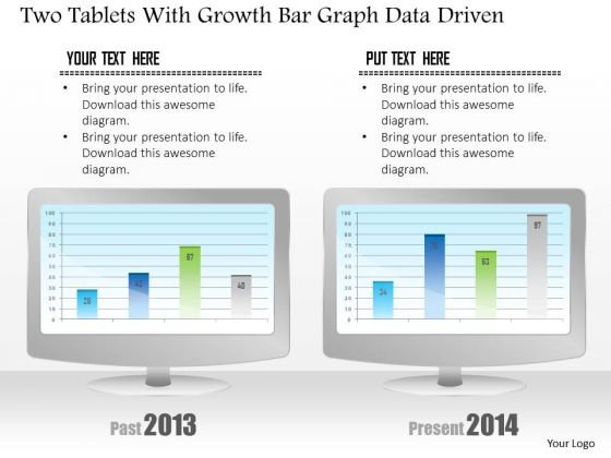 Business Diagram Two Tablets With Growth Bar Graph Data Driven PowerPoint Slide