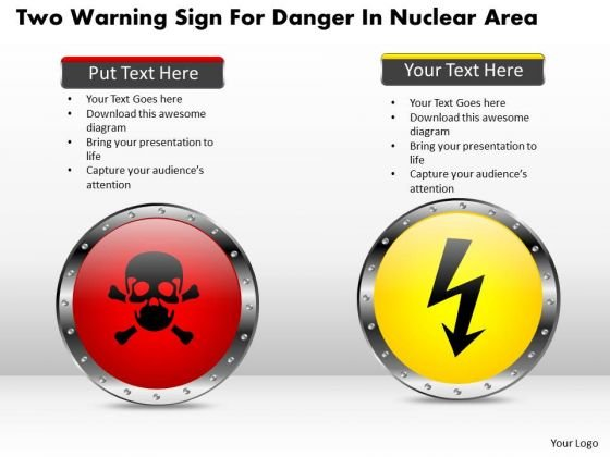 Business Diagram Two Warning Sign For Danger In Nuclear Area Presentation Template