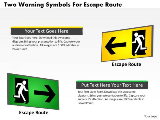 Business Diagram Two Warning Symbols For Escape Route Presentation Template