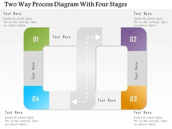 Business Diagram Two Way Process Diagram With Four Stages Presentation Template