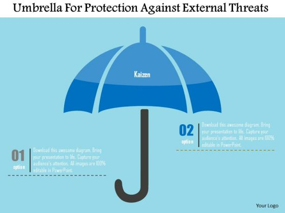 Business Diagram Umbrella For Protection Against External Threats Presentation Template
