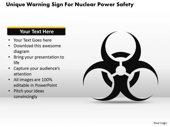 Business Diagram Unique Warning Sign For Nuclear Safety Presentation Template 1