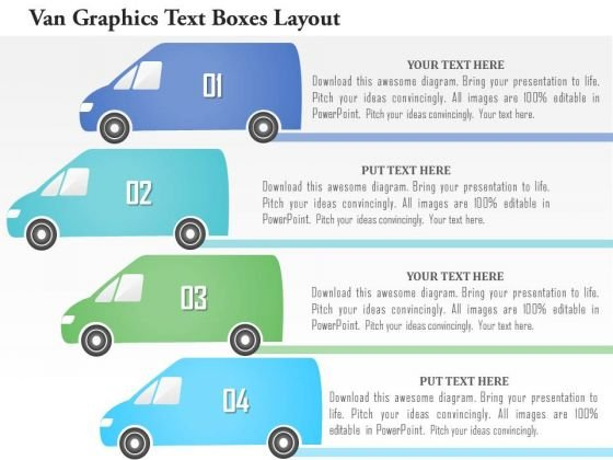 Business Diagram Van Graphics Text Boxes Layout Presentation Template