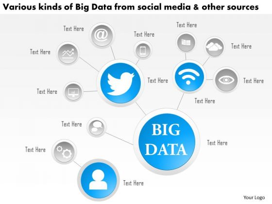 Business Diagram Various Kinds Of Big Data From Social Media And Other Sources Ppt Slide